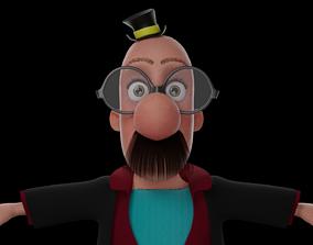 3D asset low-poly Cartoon Old Man