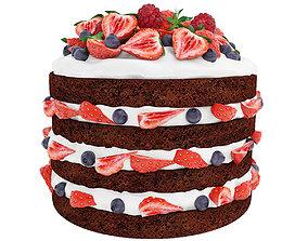 Berry chocolate cake 3D model