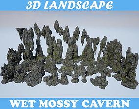 3D asset Low poly Mossy Cave Modular Column Pack 200802