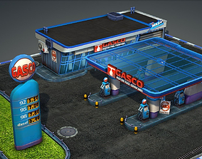 3D model Gas Station pack - low poly
