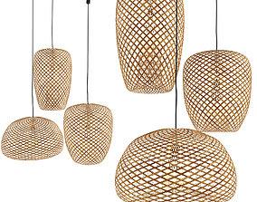 Set of 3 Bamboo Lantern Pendant Lamp 3D model