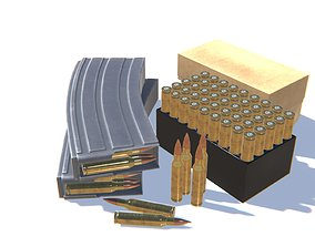 5-56x45 Ammo Pack 3D model game-ready
