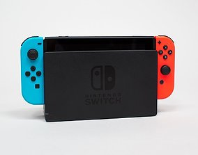 Nintendo Switch in Dock With Joy Cons 3D