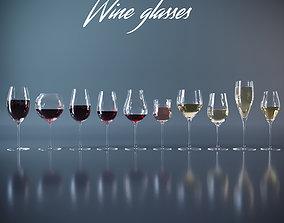 3D model vine Set of wine glasses