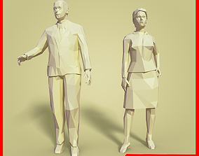 LOW POLY Cartoon Business Man - Woman 3D asset