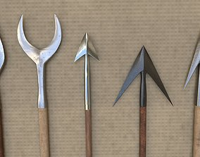 Medieval Arrowheads low-poly set 3D