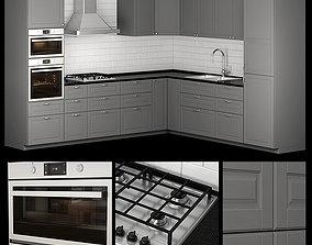 3D ikea kitchen bodbyn gray L-shaped