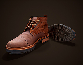 Leather Boots Male Low-poly 3D asset