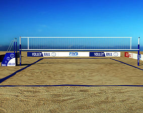 Beach volleyball court low poly 3D model