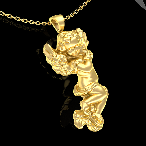 Baby Angel Pendant Jewelry Gold 3d Print Model