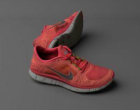 Worn Nike Free Run 3 sneaker shoe low poly 3D game-ready
