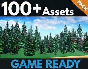 Fir trees pack 02 3D model realtime