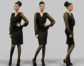 3D asset Secretary Look Girl