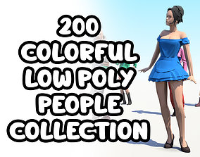 200 Colorful Low Poly People Collection 3D asset