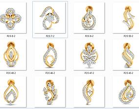 50 Women Earrings 3dm stl render details bulk