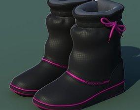 Winter shoes 01 black pink 3D model