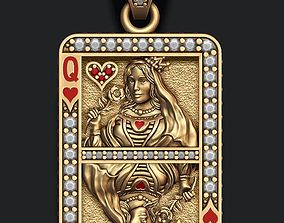 roulette Heart queen playing card pendant 3D print model