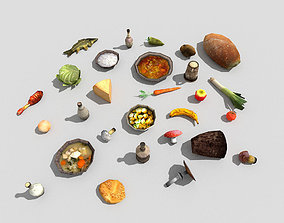 3D asset huge low poly food collection