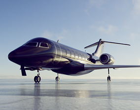 private jet black 3D