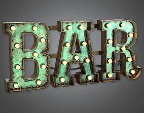 DVB - Large Light Up Letters - PBR Game Ready 3D model