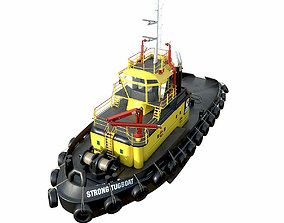 3D asset game-ready Tug boat