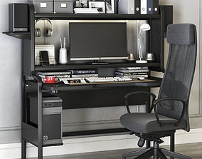 Workplace set with FREDDE desk and MARKUS chair 3D model