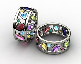 ring with color stones and tip 3D print model