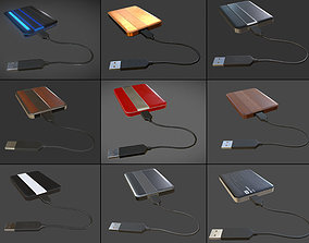 3D model External HDD With Cable Collection Game Ready