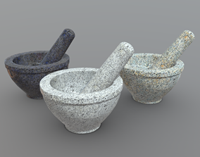 3D asset low-poly Mortar And Pestle