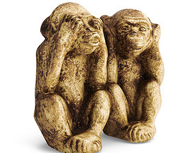 3D model Two Wise Monkeys