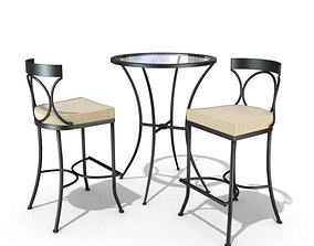 3D model Two Chairs And A Table