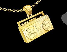 Radio Music Sculpture pendant jewelry 3D print model 2