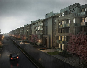 Street with Condominiums 3D