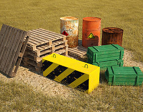 low-poly Low poly models for games barrels pallets 2