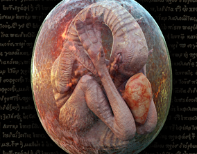 Bird Monster Embryo 3D asset
