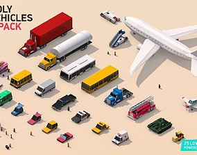 3D model Low Poly City Vehicles Party Pack low-poly