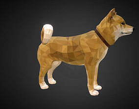 3D model Dog Yellow Low Polygon Art