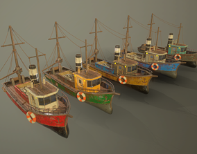 Fisher boat 3D asset