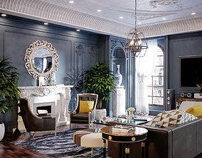 Blue neoclassic interior 3D