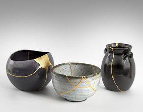 3D model Kintsugi Bowl and Vases