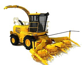 Yellow Forage Harvester 3D