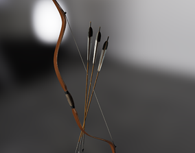Traditional Manchu bow with rig 3D