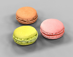 3D asset game-ready 3 Macarons Pink Brown Green