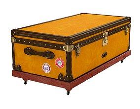 1900s Yellow Canvas Louis Vuitton Steamer Trunk 3D