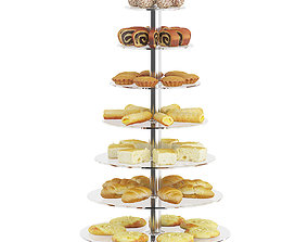 3D model Glass Stand with Sweatrolls and Cakes 2