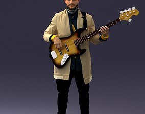 3D Musician bass guitar player 0118