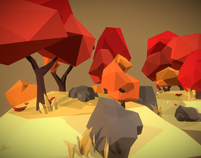 3D model Autumn Trees Set - Faceted Style