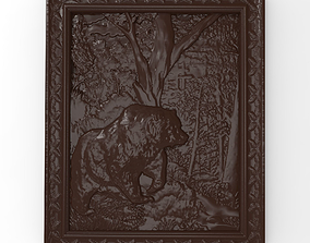 Bear in the forest bas relief for CNC 3D printable model