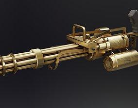 Minigun Golden 3D asset