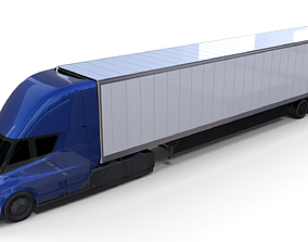 3D Tesla Truck with Chassis and Trailer Blue